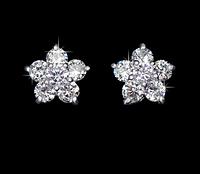 Позолоченные серьги-гвоздики с кристаллами Цветок код 1293