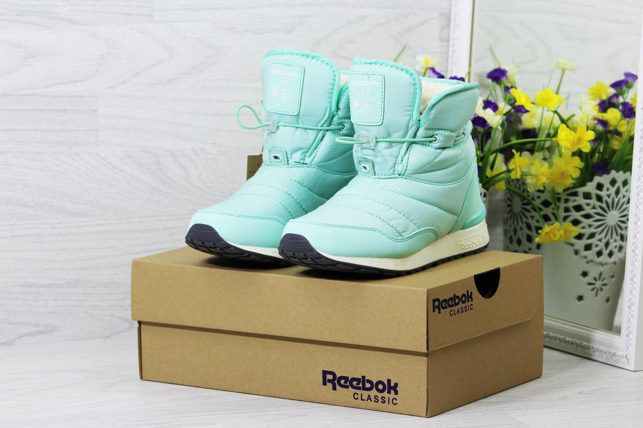 Женские ботинки дутики Reebok на меху (мятные), ТОП-реплика