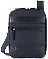 Синяя удобная сумка через плечо Piqudro Ross CA4140W84_BLU, 17х21х3.5 см, текстиль+натуральная кожа