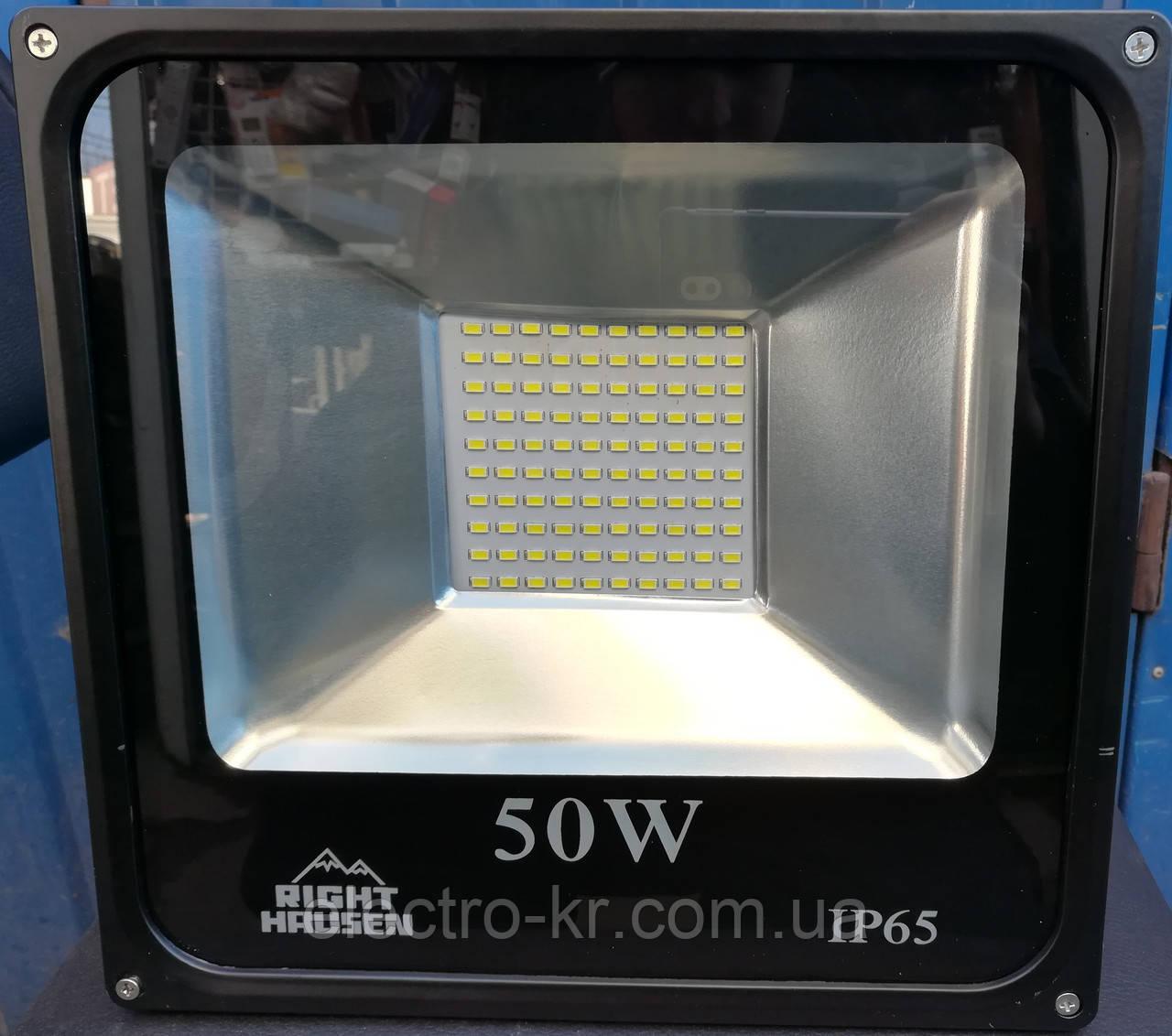 Прожектор світлодіодний RIGHT HAUSEN LED 50W 4500 Lm 6500K IP65 чорний