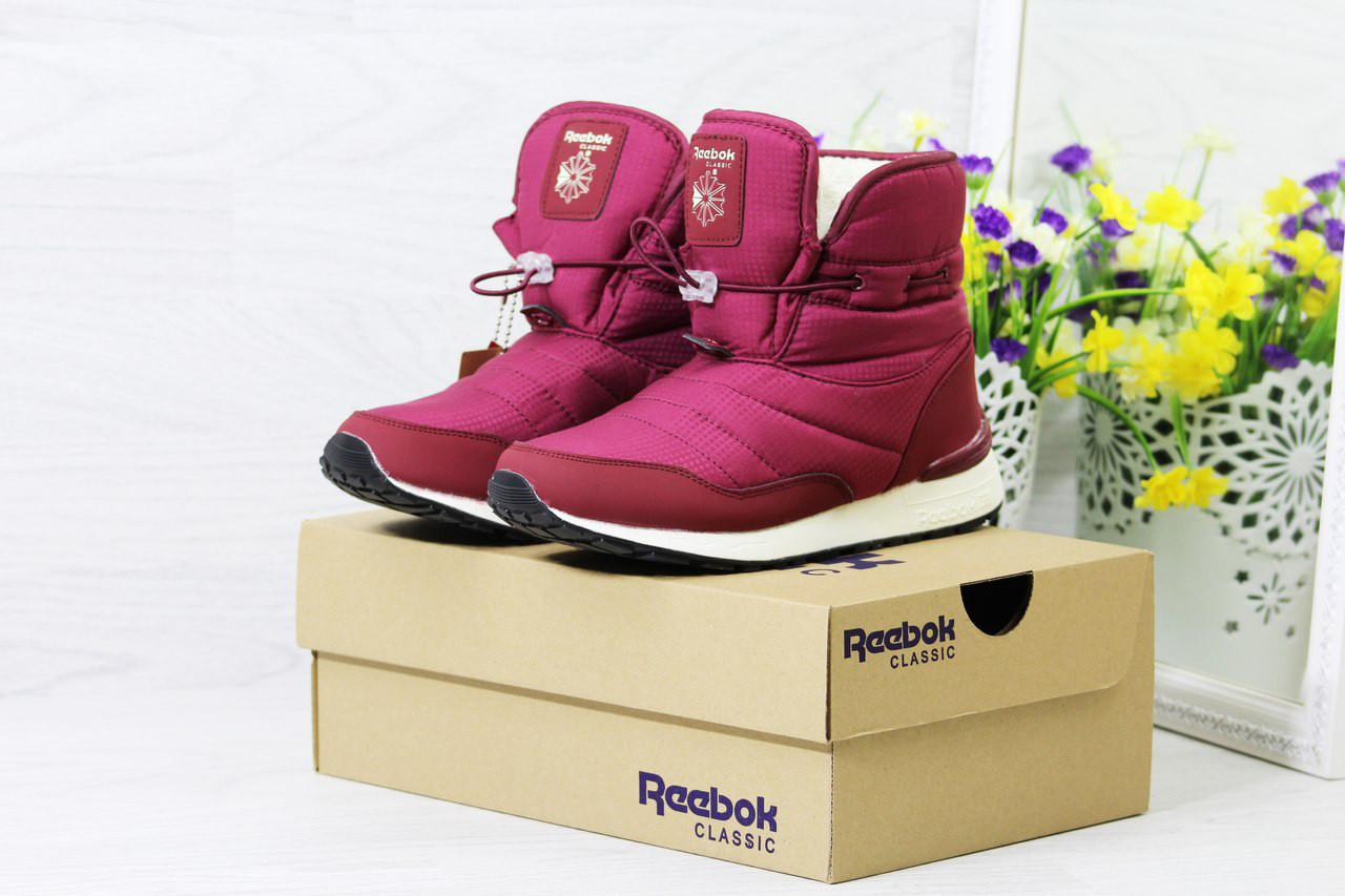 Женские ботинки дутики Reebok на меху (бордовые), ТОП-реплика