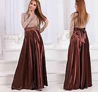 Женское длинное платье с атласной юбкой клеш