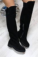 Зимние женские замшевые сапоги. Чёрные