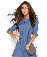 Светло-синее платье с поясом рукав 3/4 укороченный 46 размер     14698RA