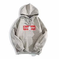 Худи Supreme + Ripndip серое с логотипом, унисекс (мужское,женское,детское)