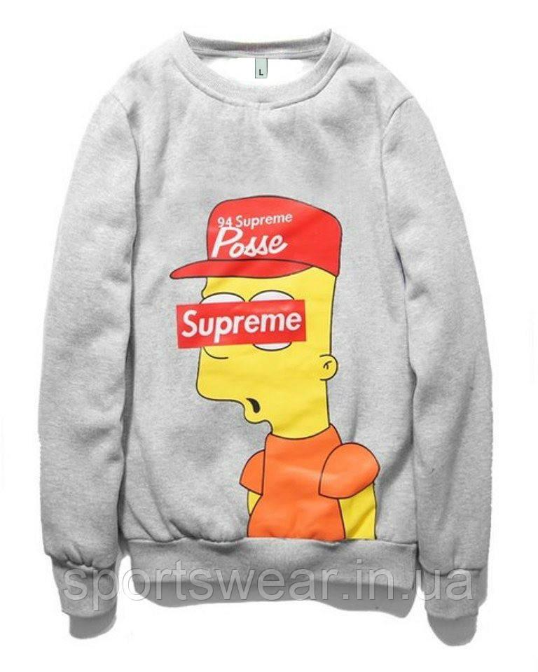 """Свитшот Supreme Bart Simpson серый,унисекс (мужской,женский,детский) """""""" В стиле Supreme """""""""""