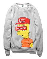 Свитшот Supreme Bart Simpson серый,унисекс (мужской,женский,детский)