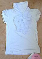 Remix Блуза-гольф белая с жабо с коротким рукавом