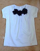 Smil Блуза школьная для девочки белая с синими цветами на груди