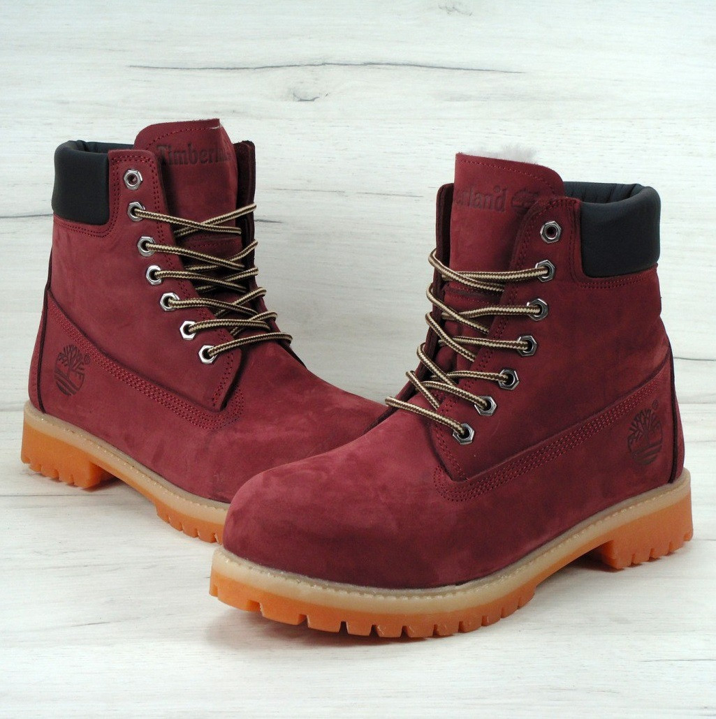 Женские зимние ботинки Timberland bordo с мехом (Реплика ААА+) - Интернет  супермаркет - 30ec74813d1