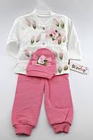 Костюм для новорожденного девочки 3 месяцев трикотажный белый костюмчик на новорожденных трикотаж Турция