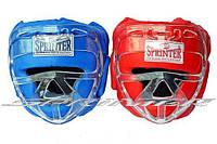 """Шлем боксёрский """"SPRINTER"""" закрытый, натуральная кожа, с маской."""