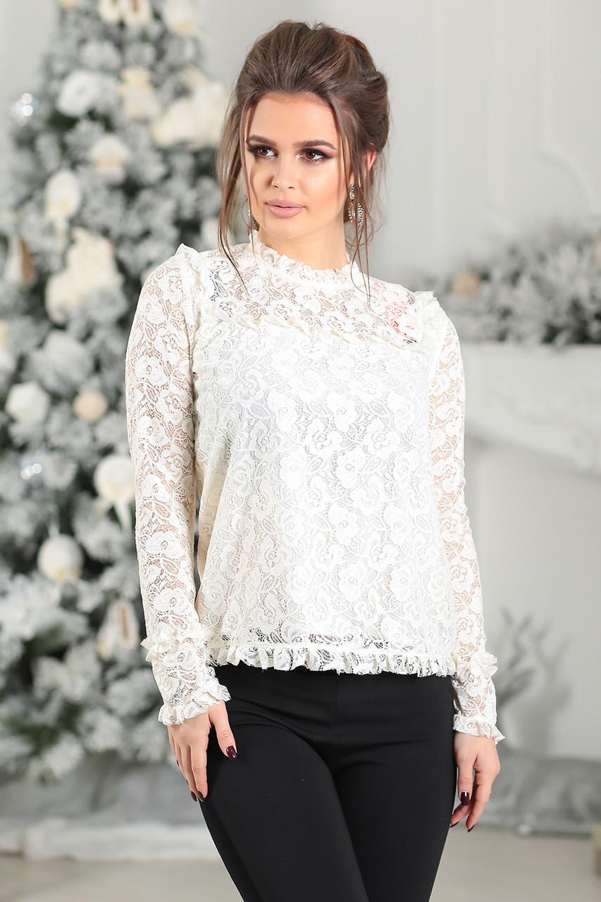 Гипюровая Блуза в белом цвете