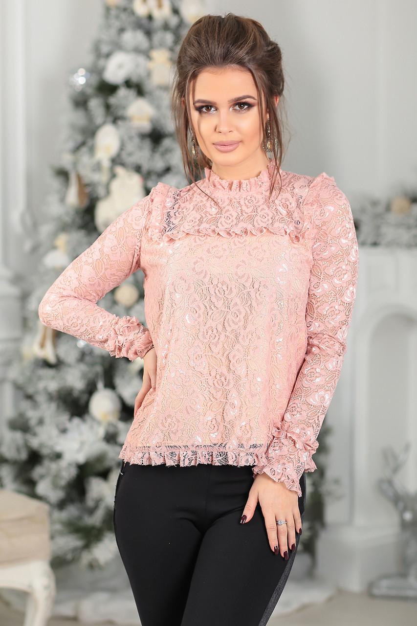 Гипюровая Блуза в цвете пудра