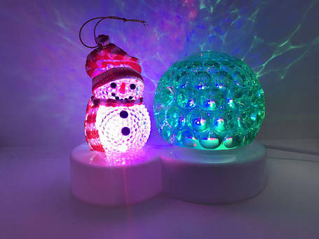 Светодиодная фигурка - снеговик и крутящаяся лампа, фото 2
