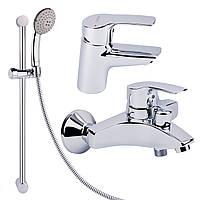 Комплект смесителей для умывальника и ванной Hansa Pico 4641 02000046 с душевой стойкой