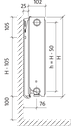 Сталевий (панельний) радіатор PURMO Ventil Compact т22 300x1000 нижнє підключення, фото 3