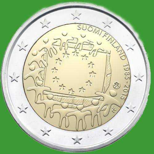 Финляндия 2 евро 2015 г. 30 лет флагу Европы . UNC.