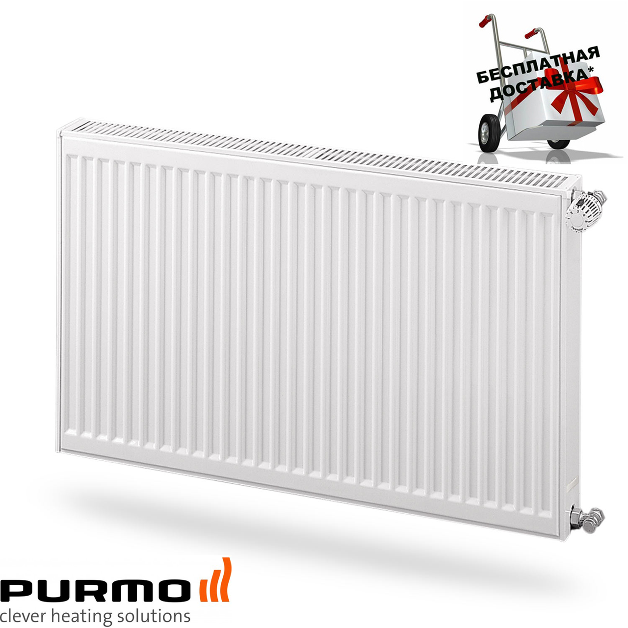 Стальной (панельный) радиатор PURMO Compact т22 600x1000 боковое подключение