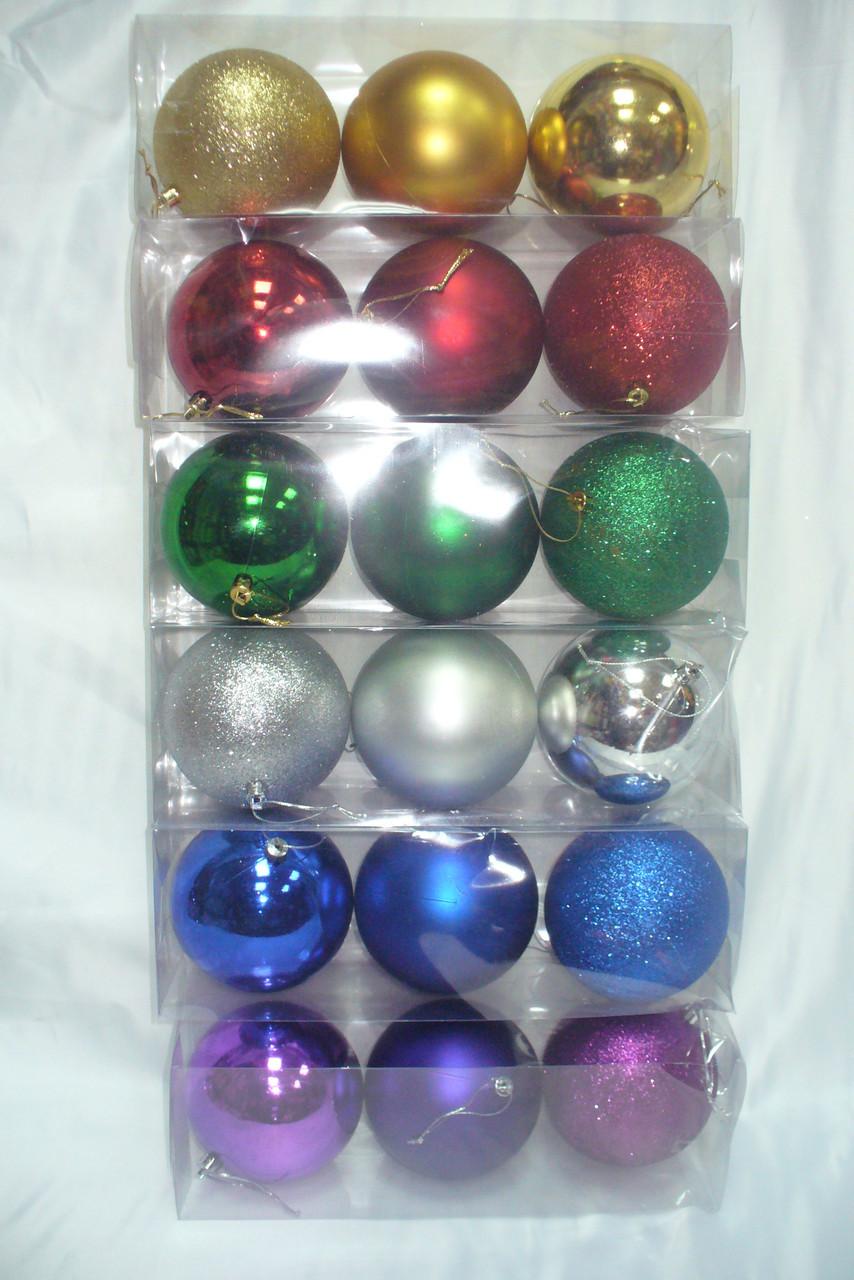 Елочные шары 3 шт. в упаковке ( диаметр 10 см ) матовый , глянец , блестящий .