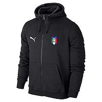 Спортивная толстовка (кофта) сборной Италии-Пума, Italy, Puma, с капюшоном, черная, К4434