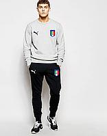 Спортивный костюм сборной Италии, Italy, Пума, Puma, серый реглан, черные штаны, К4808