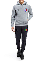 Спортивный костюм сборной Италии, Italy, Пума, Puma, с капюшоном, серо-черный, К4833