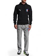 Спортивный костюм сборной Италии, Italy, Puma, Пума, черная кофта, серые штаны, К4941