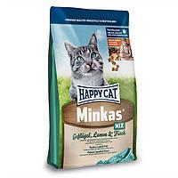 HAPPY СAT MINKAS MIX сбалансированный сухой корм из мяса птицы и рыбой для взрослых кошек, 4 кг