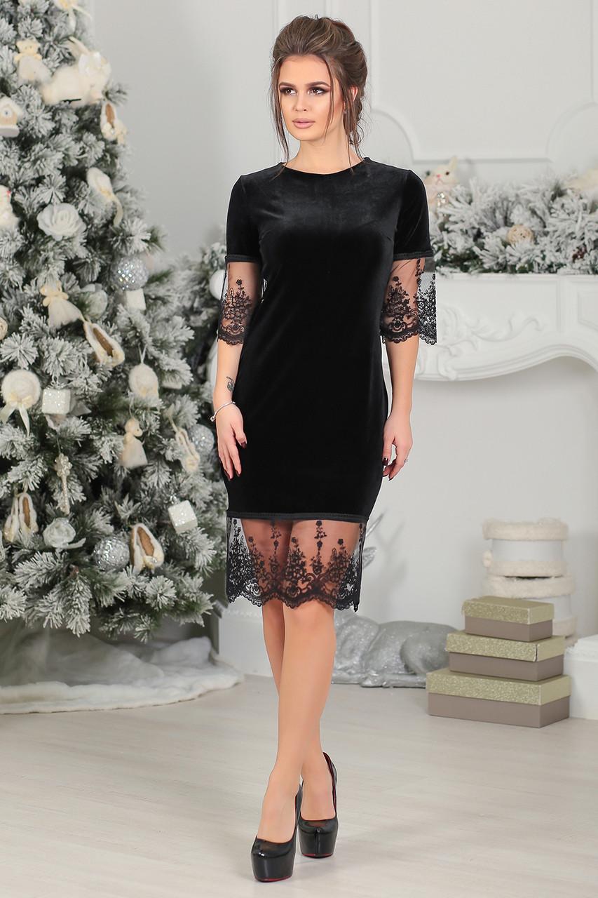 Бархатное Платье Ирени в черном цвете
