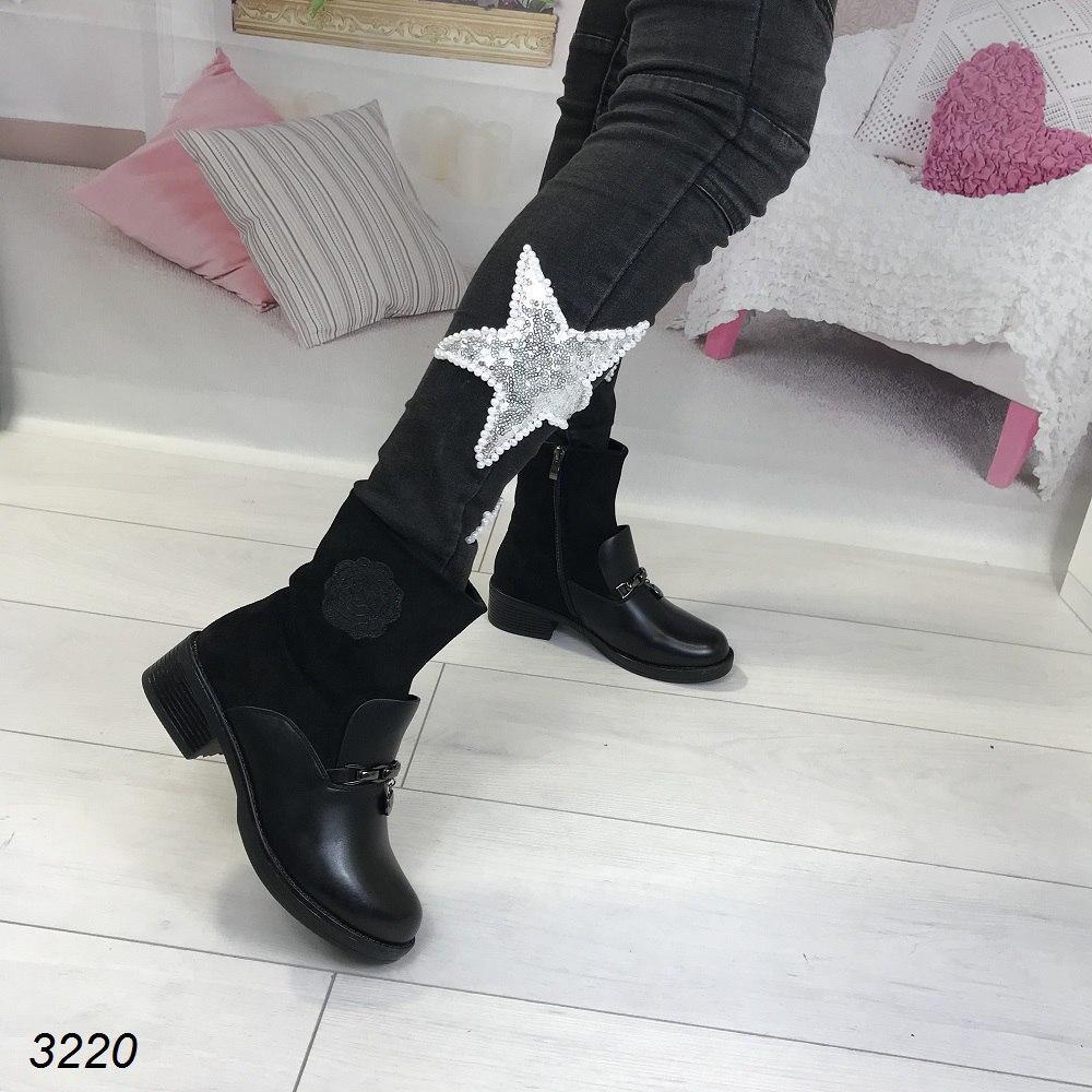 Зимние ботинки эко - кожа черные на маленьком каблуке