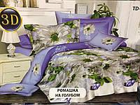 Полуторное постельное бельё Ромашка на голубом