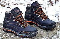 Ботинки зимние кожа натуральный мех Columbia реплика  мужские темно синие полуботинки (Код: Ш296)