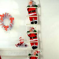 Декоративный Санта Клаус ползущий по лестнице (Дед Мороз на лестнице), 3 фигурки,26 см