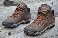 Крутые зимние мужские ботинки натуральная кожа, мех, шерсть коричневые молодежные (Код: Ш916а)