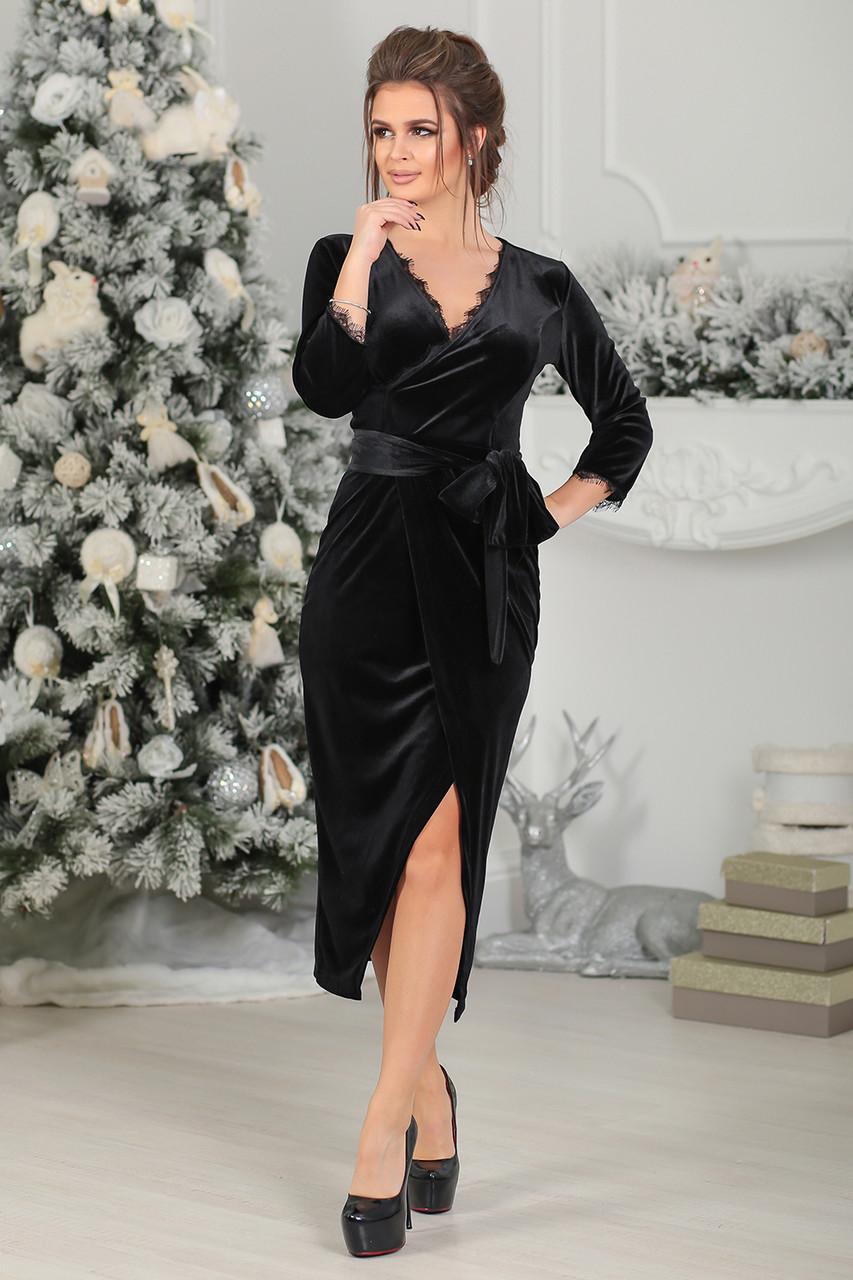 1bc25eb9535 Бархатное Платье на запах черное - LILIT ODESSA оптово-розничный магазин  женской одежды в Одессе