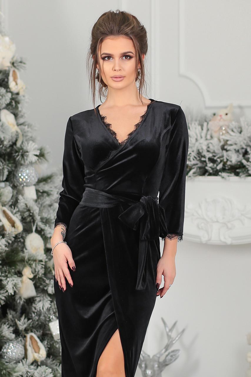 e2f01f95bbd Бархатное Платье на запах черное
