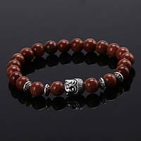 """Тибетский браслет из бусин """"Будда, авантюрин коричневый"""""""