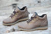 Мужские зимние полуботинки ботинки натуральная кожа коричневые, матовые прошиты Харьков (Код: Ш957а)