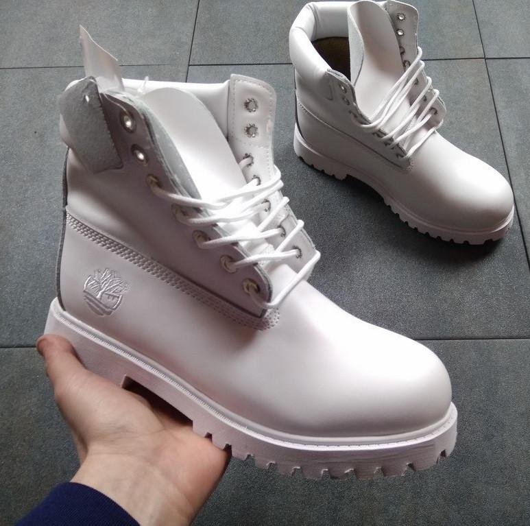 Ботинки в стиле Timberland 6 inch All White женские тимберленд (Без Меха) 0960af9e63563