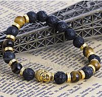 "Тибетский браслет из бусин ""Будда, лава+тигровый глаз"""