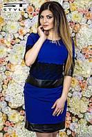Платье ,больших размеров декорировано кружевом и эко-кожей, одежда больших размеров код 87/42