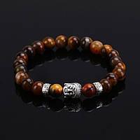"Тибетский браслет из бусин ""Будда, тигровый глаз"", фото 1"