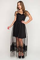 Шикарное вечернее платье с юбкой из фатина и гипюра 3 цвета