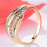 Позолоченное кольцо женское с белыми цирконами код 1296 р 16 17 18 19