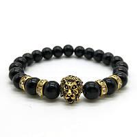 "Тибетский браслет из бусин ""Лев с камнями Black Glossy"""