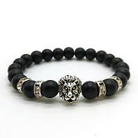 """Тибетский браслет из бусин """"Лев с камнями Matte Black"""""""
