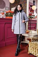 Серый женский пуховик ПВ-1061 Лаке Тон 570 44-54 размеры