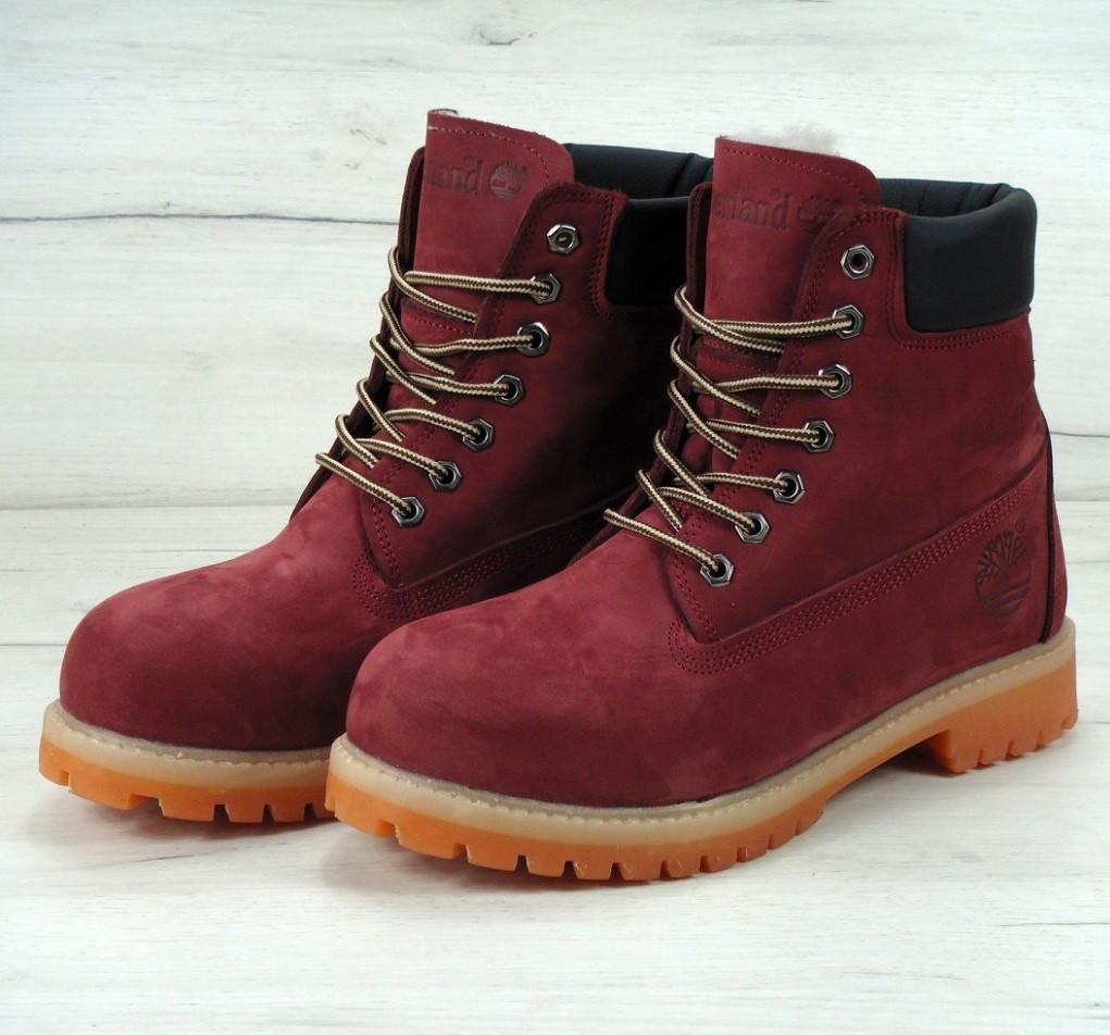 Ботинки в стиле Timberland Classic 6 inch Bordo High Quality мужские  тимберленд (С мехом) a14e80e89add0