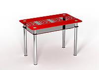 Стеклянный стол Улитки красные тонировка